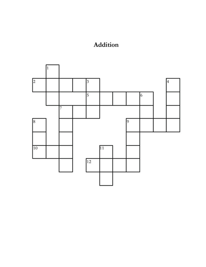 addition - free classroom crossword puzzle